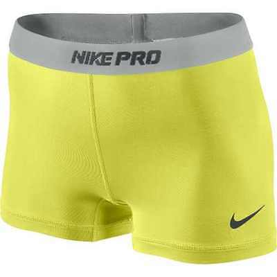 NEW! Electric Yellow [L] NIKE PRO Compressio Women's DRI-FIT Runner Shorts Large