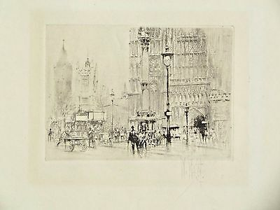 WESTMINSTER ABBEY~WILLIAM WALCOT SIGNED ORIGINAL c1899~W/EARLY DOUBLE DECKER BUS