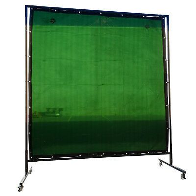 Green Welding Curtain / Screen and frame Combo - Heavy duty on wheels-1.8m x 1.8