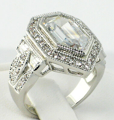 ANTIQUE PENTAGON 8.26 CT. lab White Topaz & CZ Wedding Engagement Ring - SIZE 8
