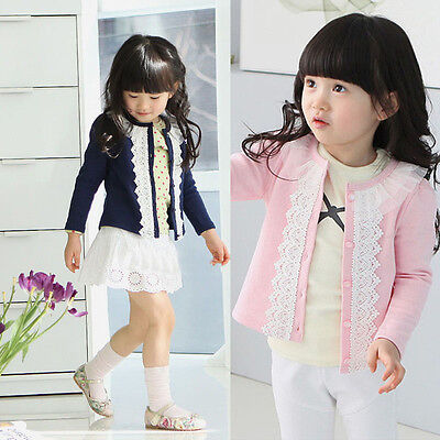Girls Cardigan Jacket Kids Newborn Baby Long Sleeve Coat Outwear Clothes 2-8T