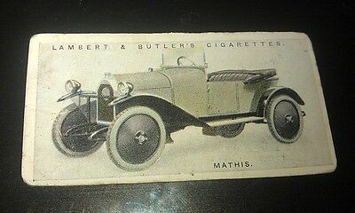 1923 MATHIS Deluxe Light  Car Lambert & Butler UK Cigarette Card