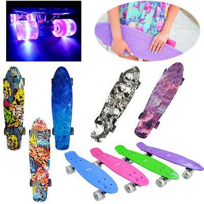 "Retro 22"" Pennyboard Kinder Skateboard LED Rollen Komplett Board Minicruiser"