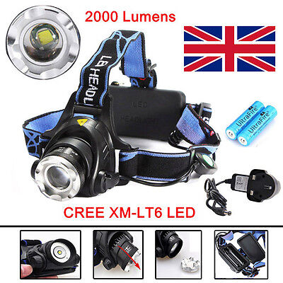 LED Headlight Torch 2000Lm Cree T6 Running Rechargeable Headlamp Head Light Lamp
