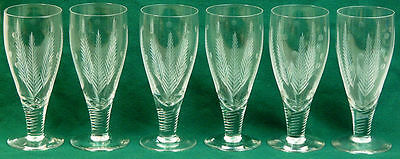 Set Of Six Stuart Crystal Woodchester Beer / Ale Glasses