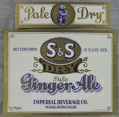 1930's~Soda Label~S & S Dry Ginger Ale~Imperial Beverage Oakland, CA