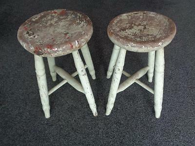 Two Victorian Elm Stools