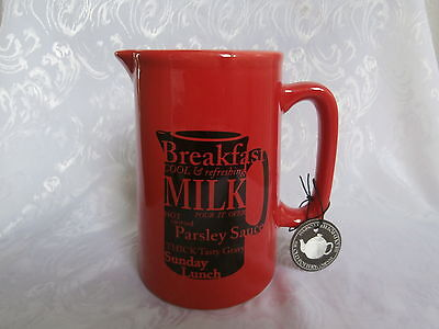 The Old Pottery Company Red Milk / Gravy / Sauce Jug Contemporary Jug 14Cm New