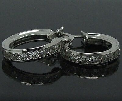 Womens 925 Sterling Silver Cz Channel Set Creole Hoop Earrings-New In Box