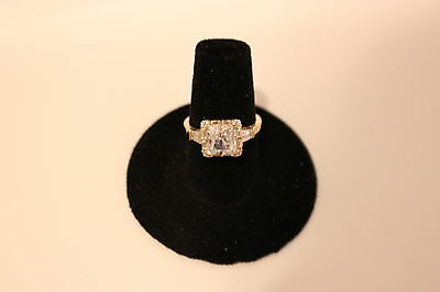 10K Yellow Gold 7mm Square Cubic Zirconia Princess Cocktail Ring - Size 9 - NEW