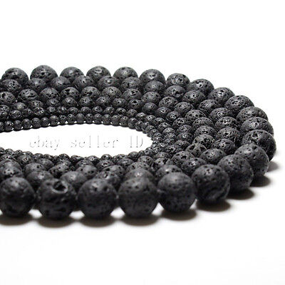 Natural Black Volcanic Lava Gemstone Round Loose Beads 15.5'' 4mm 6mm 8mm 10mm