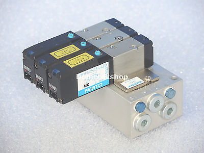 Festo manifold for 5 valves with 3 x MYH-5/2-2,3-L-LED 34303