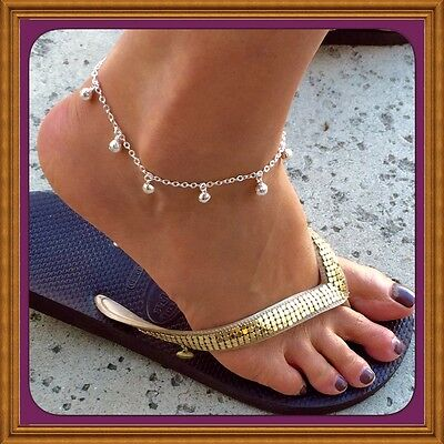 925 Sterling Silver Jingle Bell Anklet w/Free Gift Box