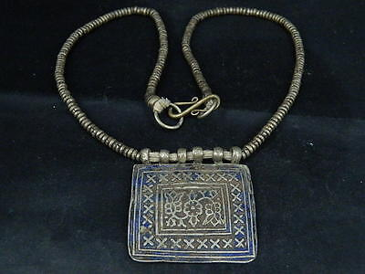 Vintage Multan Brass Enamel Pendant With Chain   #SG5923