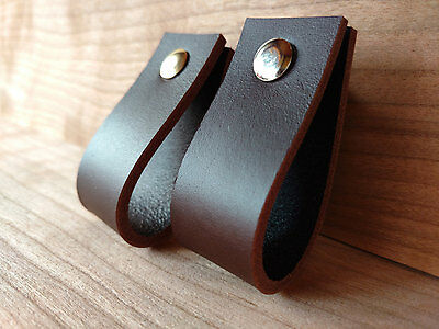 LEATHER PULL, HANDLE FOR DRAWERS,CABINETS,DOORS - BROWN 3mm VEG TANNED LEATHER