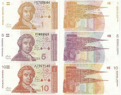 CROATIA UNCIRCULATED BANKNOTES -7 different banknotes