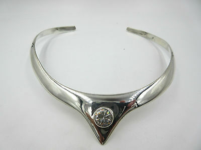 Vintage Taxco Mexico 925 Sterling Silver Modernist Crystal Choker Collar
