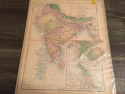 Vintage Map of INDIA OR HINDOSTAN IN 1862