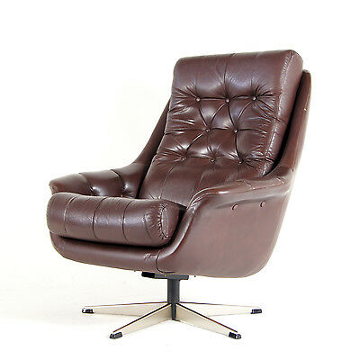 Retro Vintage Danish Reclining Swivel Base Leather Armchair Lounge Egg Chair