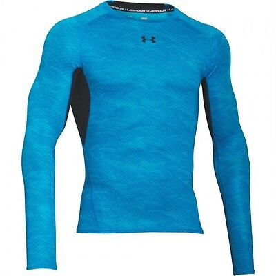 Under Armour HeatGear Compression Longsleeve Men's Large Printed Blue/Black NWT