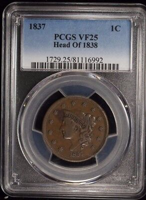 1837 Coronet Head Large Cent Pcgs Certified Vf 25 Very Fine Head Of 1838 (992)