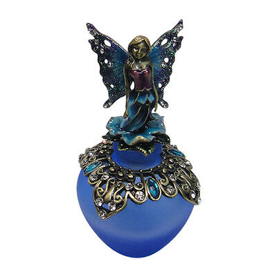"""Blue Fairy Bejeweled Pewter Perfume Bottle by Welforth 4"""""""