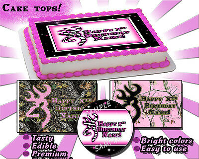 Deer Hunting CAKE topper decal buck mark birthday sugar browning edible paper