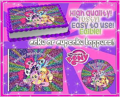 4 My Little Pony Birthday Cake Topper Edible Picture Paper Frosting Image Sugar