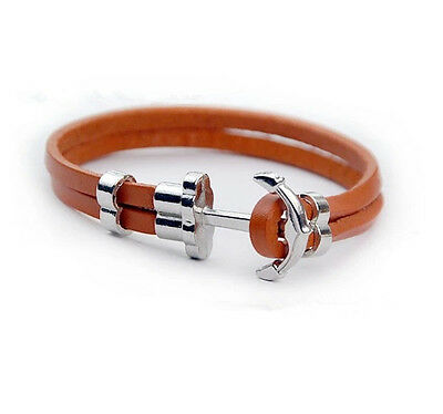 Mens Womens Cowhide Leather Cord Wrap Anchor Wristband Bracelet  #BL167