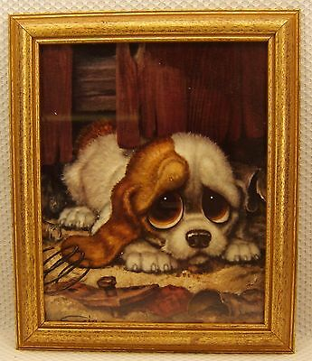 "Vintage Gig Pitty Puppy Big Eyes Keane Style Framed Print 10"" X 8"""