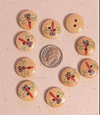 """9036 Lot of 20 LADYBUG 2-hole Wooden Buttons 5//8/"""" Scrapbook Craft 17 x 15mm"""
