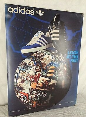 Vintage Adidas Shoes Store Display Advertisement Cardboard Poster Look At Feet