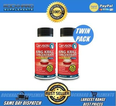 CARUSO'S KING KRILL OIL ODOURLESS TWIN PACK 120 CAPS 1000mg