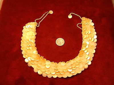 "Rare Old Vtg Antique? Ladies Faux Mop & Pearl Beaded/Buttons ""Scale"" Type Choker"