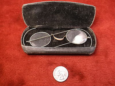 #14 of 27, VERY OLD VTG ANTIQUE PAIR OF ROSE GOLD EYEGLASSES, SMALL OVAL LENSES