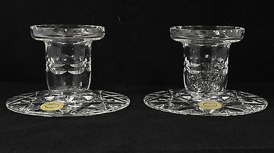 Webb Corbett crystal candlesticks with original stickers