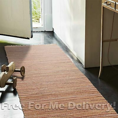 RAMONA NATURAL JUTE LEATHER BROWN FLOOR RUG RUNNER 80x300cm **FREE DELIVERY**