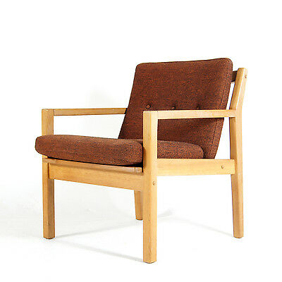Retro Vintage Danish Oak & Wool Side Lounge Easy Chair Armchair Wool 60s 70s