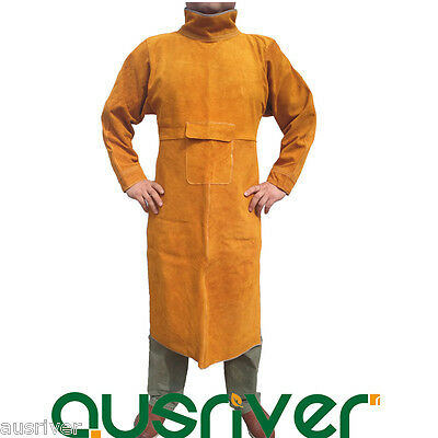 Durable Leather Welding Long Coat Apron Protective Clothing Apparel Suit Welder