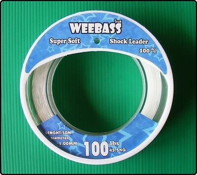 50m Weebass Clear Soft Shockleader Shock Leader Mono Fishing Line
