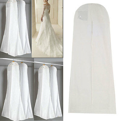 White Wedding Breathable Bridal Prom Dress Gown Garment Travel Cover Bag Au