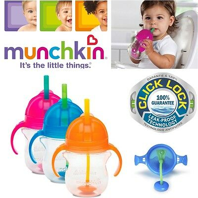 Munchkin Baby Non-Spil Click Lock Tip & Sip Straw Toddler Training Cup 7oz +6m