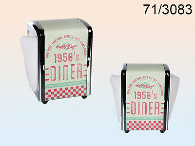 Metal Napkin Dispenser, 1950's Diner Incl. 100 Napkins