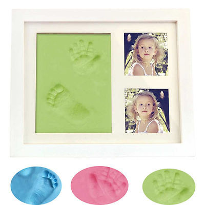 Safe Newborn Baby Foot & Hand Print Kit Wooden Clay Picture Frame Gift Keepsake