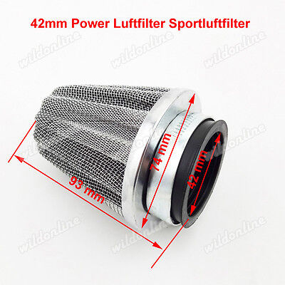 42mm Power Luftfilter Sportluftfilter für Chinese Moped Scooter ATV Quad Buggy