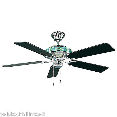 CasaFan 132cm Merkur 5 Blade Ceiling Fan with Remote in Chrome/ Black Lacquered