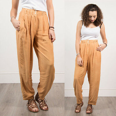 Womens Light Orange Tan Loose Fit Casual Retro Trousers Summer 90's Style 8