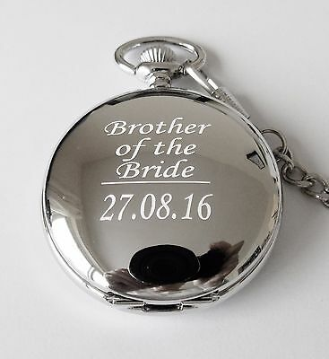 Engraved Pocket Watch Father of the Bride Groom Usher Wedding Gift W2A