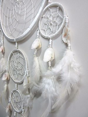 Large White 5 Web Dream Catcher w/ Natural Shells & Beads Handmade 22cm Web