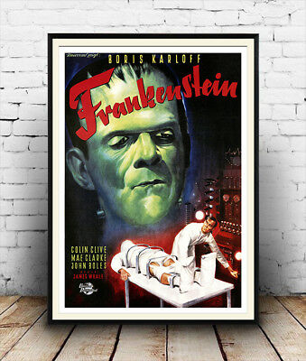 Frankenstein: Reproduction vintage movie , poster, Wall art.